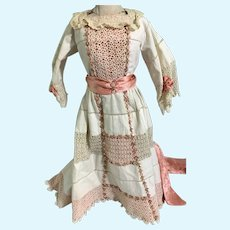 Gorgeous Doll Dress W/ Lace and Train Hand Made