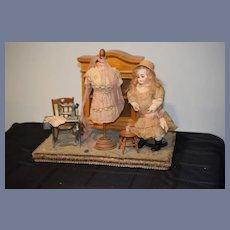 Antique Doll Sonneberg W/ Artist Diorama Sewing Scene Gorgeous