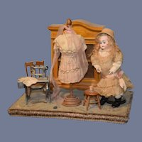Antique Doll Sonneberg W/ Artist Diorama Sewing Scene Gorgeous