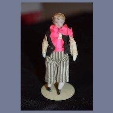 Antique China Head Doll Miniature Dollhouse Bisque Man Doll