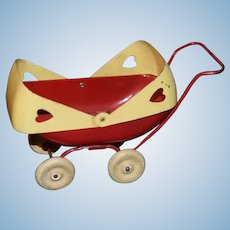 Old Metal Doll Pram Buggy Sweet Size W/ Flip Top