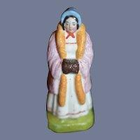 Old Doll Miniature Staffordshire Figurine Lady W/ Muff Charming Dollhouse
