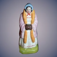 Old Doll Miniature Staffordshire Figurine Lady W/ Muff Charming Dollhouse