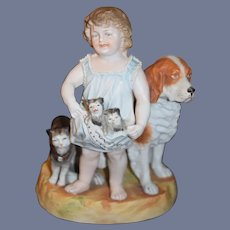 Old Piano Baby Figurine Girl W/ Kittens and Dog Cat Large Doll Bisque