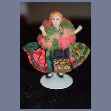 Antique Doll Miniature Dollhouse All Bisque All Dressed