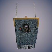 Old Beaded purse Fringe W/ Beaded Decal Unusual Fancy