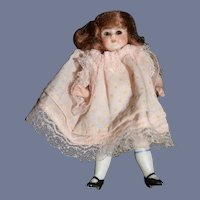 Antique Miniature All Bisque Doll Dollhouse Jointed Glass Eyes