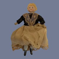 Antique Doll Miniature Dollhouse Maid Lady Dressed Tall Fancy Boots