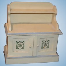 Old Wood Painted Miniature Chest Cupboard Doll Dollhouse