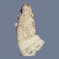Antique Doll Miniature All Bisque Baby Doll Jointed Dollhouse Wonderful Gown