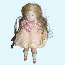 Antique Doll Miniature All Bisque Jointed Dollhouse SWEET!