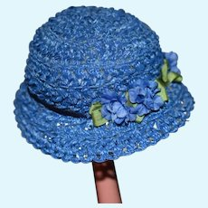 Wonderful Doll Artist Blue Straw Bonnet Hat Janice Custom Milliner Fancy