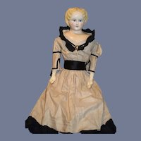 """Antique Doll Papier Mache Large Gorgeous Dress 30 1/2"""" Tall"""