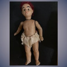 Antique Doll Miniature Mulatto All Bisque Barefoot Dollhouse