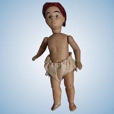 Antique Doll Miniature Mulatto All Bisque Barefoot Dollhouse