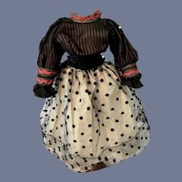 Old Two Piece Hand Made Doll Outfit Top Skirt Fancy Fashion Doll