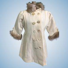 Sweet Vintage Fur Trimmed Doll Coat Pleats in Back