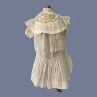 Old Doll Dress White Cotton with Fancy Lace Collar Drop Waist High Collar