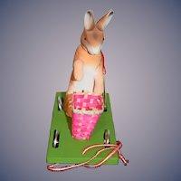 Ino Schaller Bayern Papier Mache Rabbit Pull Toy Vintage W/ Tag