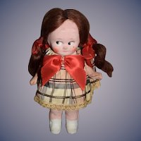 Old Painted Bisque Doll Factory Original Side Glancing Eyes Adorable Mohair Wig