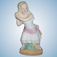 Old Bisque Piano Baby Figurine Doll Girl W/ Ball