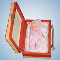 Old Doll Miniature Baby Painted Bisque Dressed in Suitcase German