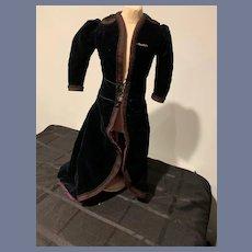 Wonderful Antique Doll Coat FAB Embroidery Train W/ Old Tag Fashion Doll