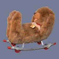 Wonderful Steiff Bear Glider Rocker Ride On Teddy Bear Adorable W/ Tags 8150/40