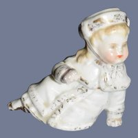 Antique Doll Piano Baby Figurine Staffordshire Miniature Fancy