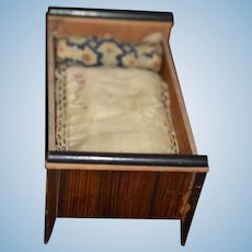 Antique Doll Bed Biedermeier Miniature Wood Dollhouse W/ Old Mattress and Pillow Dollhouse
