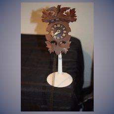 Old Miniature Wood Ornate Cuckoo Clock Carved
