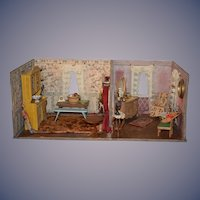Old Doll Two Room Dollhouse Room Box W/ Furniture Sweet Size Miniatures