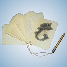 Antique Old Miniature Doll Writing Pad Celluloid W/ Pencil