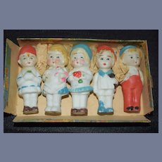 Old Five Dolls all Bisque Characters in Original Box Charming Miniature