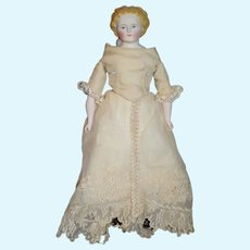 Antique Doll Parian Petite Size Gorgeous Old Clothing and Undergarments W/ Bustel