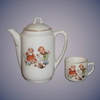 Old Child's Doll Teapot and Cup Tea Set Adorable Children w/ Kitten German