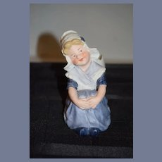 Old Heubach Dutch Girl W/ Egg Vase Bisque Doll Figurine Piano Baby