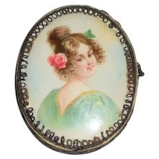 Wonderful Old Paper Portrait Victorian Lady Vanity Box Or Doll