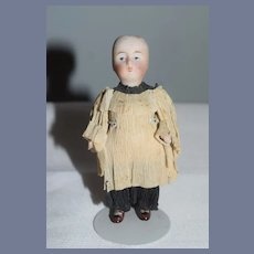 Antique Doll Miniature All Bisque Jointed Original Crepe Paper Clothing