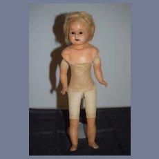 Antique Doll Papier Mache Glass Eyes Needs a Little TLC
