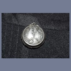 Antique Miniature Sterling Ornate Hinged Box Pill Box Compact for Chatelaine 1907 Engraved