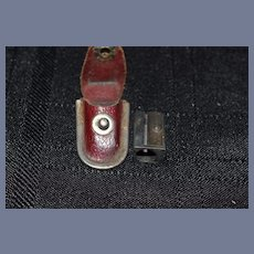 """Old Miniature Pencil Sharpener in Leather Case Boston Over 1"""" Tall"""