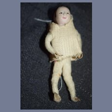 Old Doll Oriental Doll Miniature Unusual Head and Fingers Dollhouse