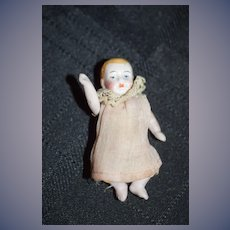 Old Doll Miniature All Bisque Jointed Baby Doll Dollhouse
