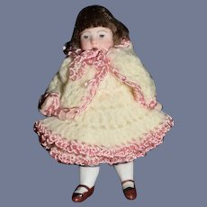 Antique Doll Miniature All Bisque Jointed Dollhouse Sweet Size Dressed
