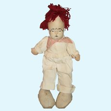 Old Doll KoKo The Clown Cloth Doll Mask Face Marked