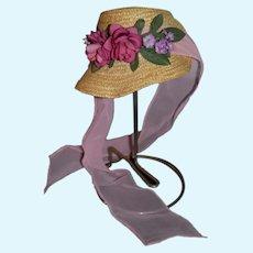 Wonderful Doll Straw Bonnet Hat Fancy Flowers and Ribbon Artist Janice Custom Milliner