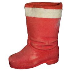 Old Papier Mache Santa Claus Boot Candy Container