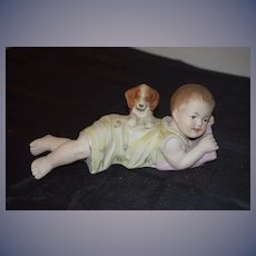 Old Doll Bisque Piano Baby Doll Baby w/ Puppy Dog Figurine
