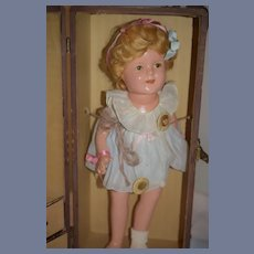 Old Doll Shirley Temple Doll Ideal Gorgeous Dressed in Old Original Trunk